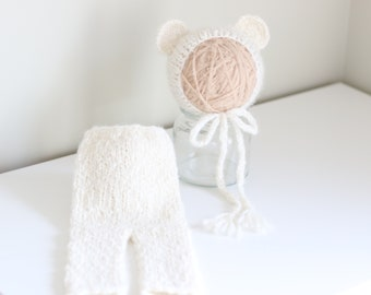 Newborn props - Newborn set – Baby props – Newborn boy – Photo props – Baby boy set – Newborn hat – Newborn pants – Baby boy props - Cream