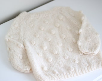 Cashmere - Sitter baby - Sitter sweater - Popcorn sweater - Baby - Photography props - Ivory sweater - Popcorn sweater - Ivory