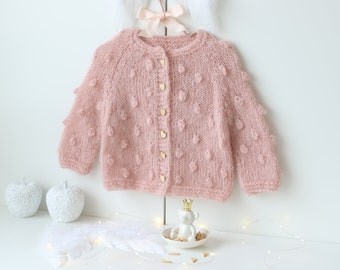12-18 months - Sitter baby - Sitter cardigan - Popcorn cardigan - Baby - Photography props - Pale pink cardigan - Baby cardigan - Toddler