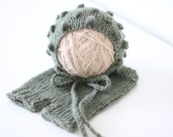 Newborn set - Baby boy - Photo props - Newborn boy - Props - Newborn hat - Newborn shorts - Newborn set - Pants and Hat - Olive green - Boy