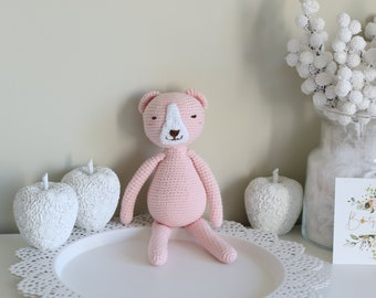 Baby toy - Crochet baby toy - Bear toy - Crochet bear - Baby girl toy - Baby first toy - Pale pink toy - Baby girl - Crochet toys