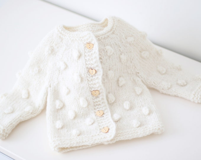 Featured listing image: 9-12 months - Sitter baby - Sitter cardigan - Popcorn cardigan - Baby- Photography props - Cream cardigan - Baby cardigan - Heart buttons