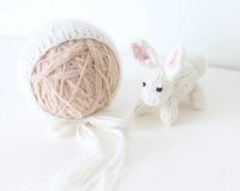 Newborn props - Baby girl set - Photo prop set - Newborn rabbit - Newborn cream - Newborn girl - Photo prop girl - Newborn girl set