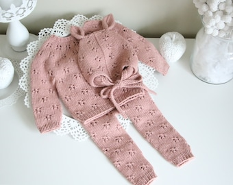 6-9 months - Set of 3 - Baby girl - Toddler girl - Toddler pants - Sitter sweater- Baby girl set - Sweater and pants - Old rose pink - Elf