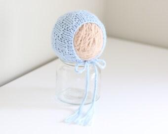Newborn props - Baby boy bonnet - Newborn boy - Newborn boys bonnet - Photo prop bonnet - Photo props - Photography prop - Light blue