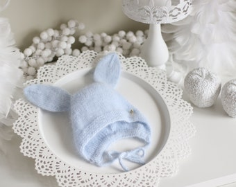 Bunny bonnet - Photo prop hat - Baby props - Baby girl hat - Photo props - Girl hat - Photography prop - Newborn props