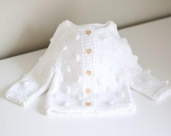 0-3 months cardigan - Popcorn cardigan - Baby cardigan - Pure white - Baby girl - Baby boy - Popcorn sweater - Popcorn knits - White