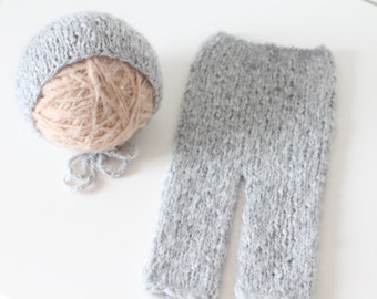 Newborn set - Photo prop set - Baby boy set - Newborn pants - Newborn hat - Photo prop boy - Newborn grey - Photography prop - Newborn boy