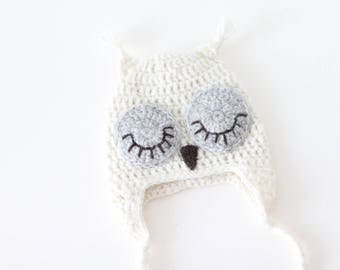 Newborn owl - Owl boys hat - Photo prop hat - Newborn props - Baby boy props - Photo prop owl - Baby boy props -Photo prop owl hat - Cream