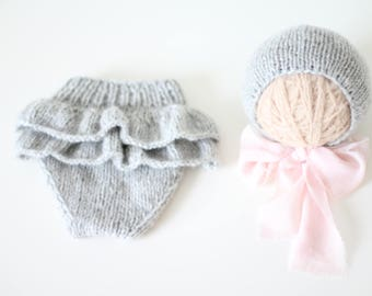 Newborn girl - Newborn props - Newborn shorts - Baby girl props - Photo props - Baby photo prop - Newborn baby photo - Gray- Baby girl
