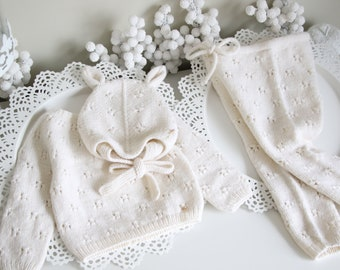 Sitter baby set - Baby girl - Toddler boy - Toddler pants - Sitter sweater- Baby boy set - Sweater and pants - Cream - Set of 3 - Elf hat