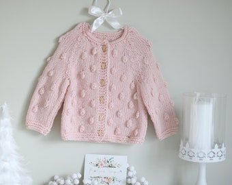 Baby cardigan - Sitter baby - Sitter cardigan - Popcorn cardigan - Baby - Photography props - Pink cardigan - Baby cardigan - Heart buttons
