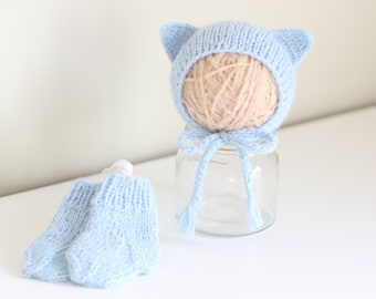 Newborn boy bonnet - Baby boy bonnet - Photo prop - Baby bonnet - Photo props - Newborn cat - Baby boy - Baby props - Photography prop
