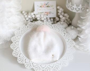 3T size - Pom pom hat  - Angora hat - Angora pom pom hat - Toddler hat - Baby girl - Girl hat - Pom pom  - Toddler hat - Angora - Pure white