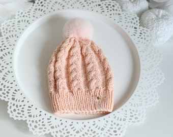 Baby girl hat - Baby hat - Kid winter hat - Real fur pom pom - Baby pom pom hat - Toddler girl hat - Baby pom pom beanie - Pom pom hat