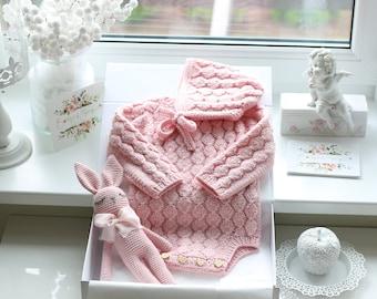 Sitter baby set - Baby girl- Toddler girl- Toddler bonnet - Sitter romper - Baby girl set - Romper and bonnet - Pink - Baby crochet toy
