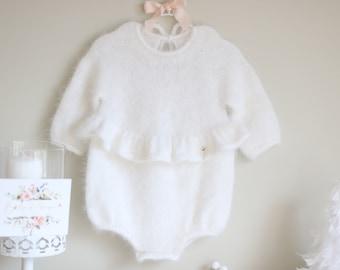 Angora ruffle romper - Baby girl - Toddler romper - Toddler baby - Angora romper - Baby girl romper - White angora - Long sleeve romper