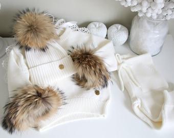 12-18 months - Baby girl sweater, pants, hat - Baby girl set - Baby sweater - Baby outfit - Baby girl - Cream outfit for girl - Merino set
