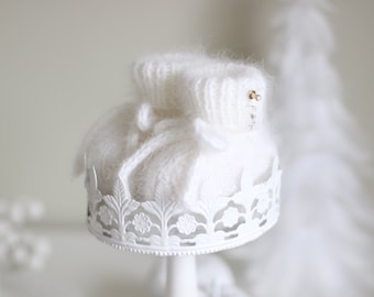Baby booties - angora booties - Newborn girl - Newborn boy - Girl booties - White booties - Baby boy booties - Newborn