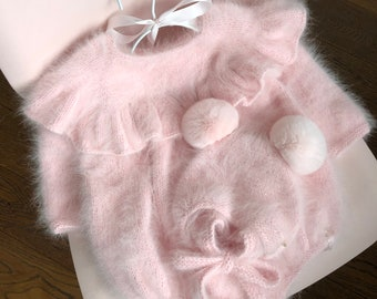 Set of 2 - Ruffle romper - Long sleeve romper - Baby girl props - Photo props - Sitter girl - Baby photo - Sitter baby photo - Pale pink