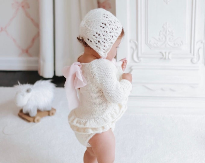 Featured listing image: Sitter romper - Long sleeve romper - Baby girl props - Photo props - Sitter girl - Baby photo prop - Sitter baby photo - Cream - Baby girl