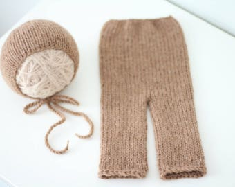 Newborn props - Photo prop set - Baby boy set - Newborn pants - Newborn set- Photo prop boy - Newborn brown - Photography prop - Newborn boy