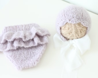 Newborn girl - Newborn props - Newborn shorts - Baby girl props - Photo props - Baby photo prop - Newborn baby photo - Lavender - Baby girl