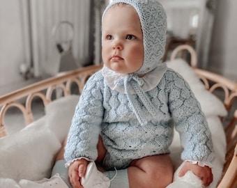 Set of  - Baby boy - Toddler boy - Toddler bonnet - Sitter romper - Baby boy set - Romper and bonnet - Pale blue - Baby boy set - Pale blue