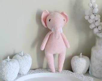 Baby toy - Crochet baby toy - Elephant toy - Crochet elephant - Baby boy toy - Baby first toy - Pale pink toy - Baby boy - Crochet toys