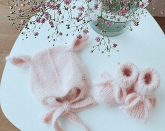 Set of 2 - Pixie elf bonnet - Angora bonnet - Elf hat - Toddler baby - Baby girl - Baby boy - Girl hat - Boy hat - Newborn elf - Toddler hat