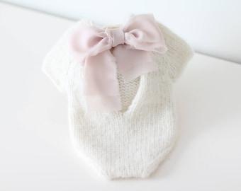 Newborn props - Newborn romper - Baby girl romper - Short sleeve romper- Photo Prop Outfit - Photo prop romper - Cream - Newborn girl props