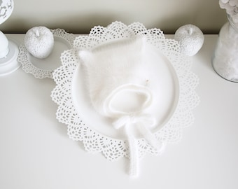 Kitty bonnet - Angora bonnet - Kitty hat - Toddler baby - Baby girl - Baby kitty - Girl hat - Baby bonnet - Newborn kitten - Newborn - White