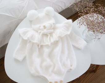 Set of 2 - Ruffle romper - Long sleeve romper - Baby girl props - Photo props - Sitter girl - Baby photo - Sitter baby photo - White