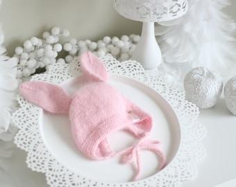 Bunny bonnet - Photo prop hat - Baby props - Baby girl hat - Photo props - Girl hat - Photography prop - Newborn props
