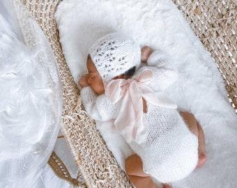 Sitter romper - Long sleeve romper - Baby girl props - Photo props - Sitter girl - Baby photo prop - Sitter baby photo - Cream - Baby girl