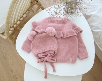 12-18 months - Baby girl set  - Ruffle sweater - Baby girl props - Photo props - Sitter girl - Baby photo - Old rose pink - Baby jumper