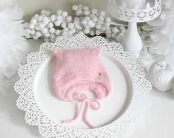0-3 months - Kitten bonnet - Angora bonnet - Kitty hat - Toddler baby - Baby girl - Baby boy - Girl hat - Boy hat - Newborn kitten - Newborn