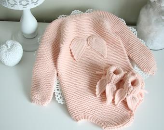 9-12 months - Set of 2  - Long sleeve romper and booties - Baby girl prop - Angel romper - Baby photo - Baby girl - Baby romper - Merino