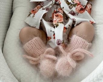 Baby booties - Angora booties - Newborn girl - Newborn boy - Girl booties - Pale pink booties - Baby boy booties - Newborn girl
