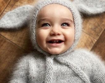 Bunny bonnet - Photo prop hat - Baby props - Baby boy hat - Photo props - Boys hat - Photography prop - Newborn props - Grey angora hat