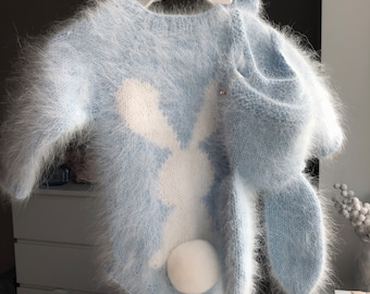 Baby boy romper - Bunny romper - Baby boy - Toddler boy romper - Baby boy bunny - Blue romper - Angora - Baby boy outfit - Bunny outfit