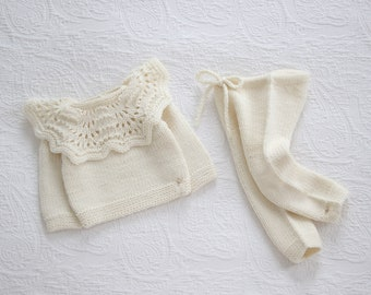 Set of 2  - Baby sweater - Baby girl set - Photo props - Baby photo prop - Baby girl - Baby outfit - Cream - Baby girl outfit