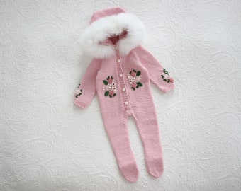 Custom order Hannahs (pink long legs romper, no footies, with embroidery, bonnet with embroidery, 2 years) PART 1