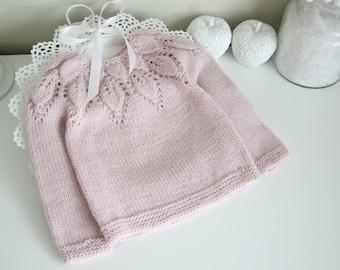 2T - Girl sweater - Baby girl sweater - Sweater with bow - Merino leaf sweater - Baby girl - Toddler girl - Merino wool