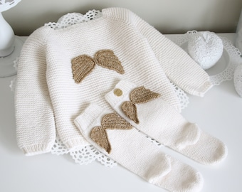 Set of 2  - Angel set - Cardigan and socks with angel wings - Gold angel wings - Baby girl angel outfit - Baby girl - Cardigan with wings