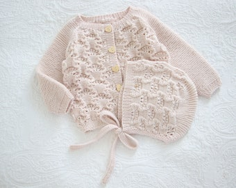 18-24 months - Baby girl set  - Baby girl cardigan - Baby girl props - Photo props - Sitter girl - Baby photo - Pale pink - Baby cardigan
