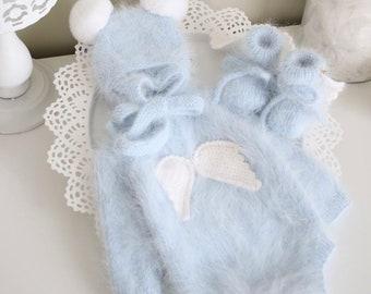 Set of 3 - Baby boy romper - Baby boy angel set - Baby boy outfit - Romper bonnet booties set - Baby boy pale blue - Angel set