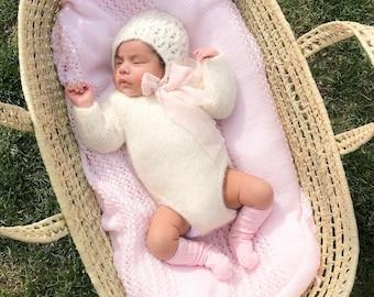 Baby set - Long sleeve romper - Baby girl props - Photo props - Newborn girl - Baby photo prop - Newborn baby photo - Cream - Baby girl