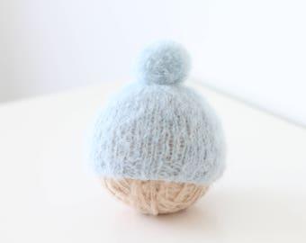 Newborn props - Baby boy hat - Newborn hat - Baby boy props - Photo prop hat - Pom pom hat - Blue - Baby boy pom pom hat - Newborn boy