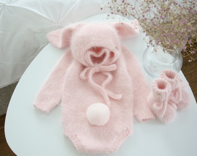 Featured listing image: Bunny outfit - Easter outfit - Bunny set - Baby girl bunny - Baby girl bunny - Bunny romper - Bunny set - Pink angora - Bunny bonnet